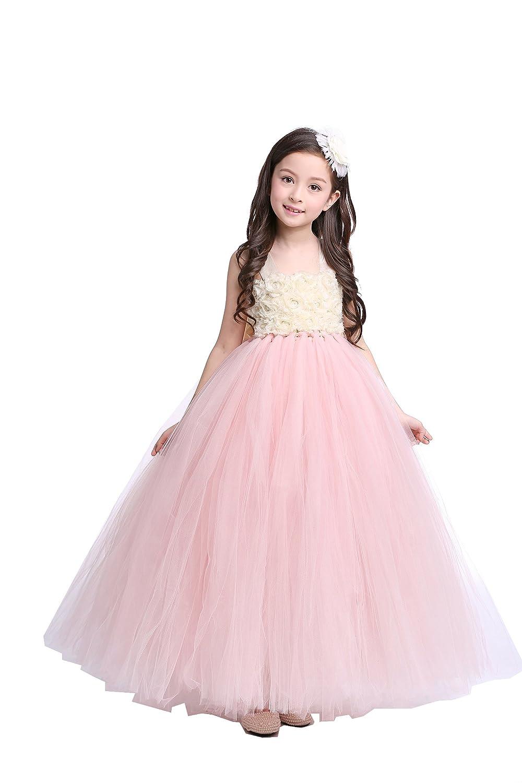 831e91439e3 Amazon.com  Girls  Wedding Flower Girl Tulle Dress with Big Bow at Back   Clothing