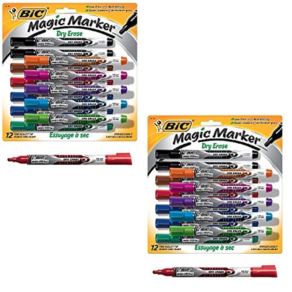 BIC Magic Marker Brand Dry Erase Marker, Fine Bullet Tip (2)