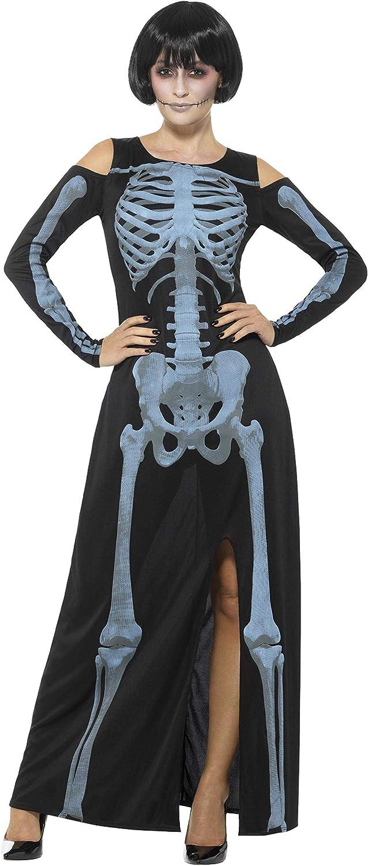 Smiffy's - dames röntgen skelet kostuum, jurk, zwart