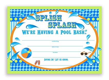 amazon com splish splash pool party invitations lime 10