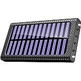 TSSIBE モバイルバッテリー ソーラーチャージャー 24000mAh 二個LEDランプ搭載 QuickCharge 電源充電可能  三つ入力ポート(MicroUSB/Lightning/Type-C入力ポート)四つ出力ポート 電気量指示ランプ付き Android/iPhone /iPad /ゲーム機/カメラ等に対応 災害/旅行/アウトドアに大活躍 (ブラック)