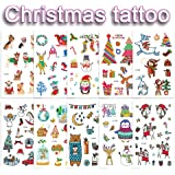 16 Sheets/Set Cartoon Tattoo Stickers Christmas Gift Flash Temporary Tattoo Children Henna Tattoo for Kids Winter Elements Fake Tattoos