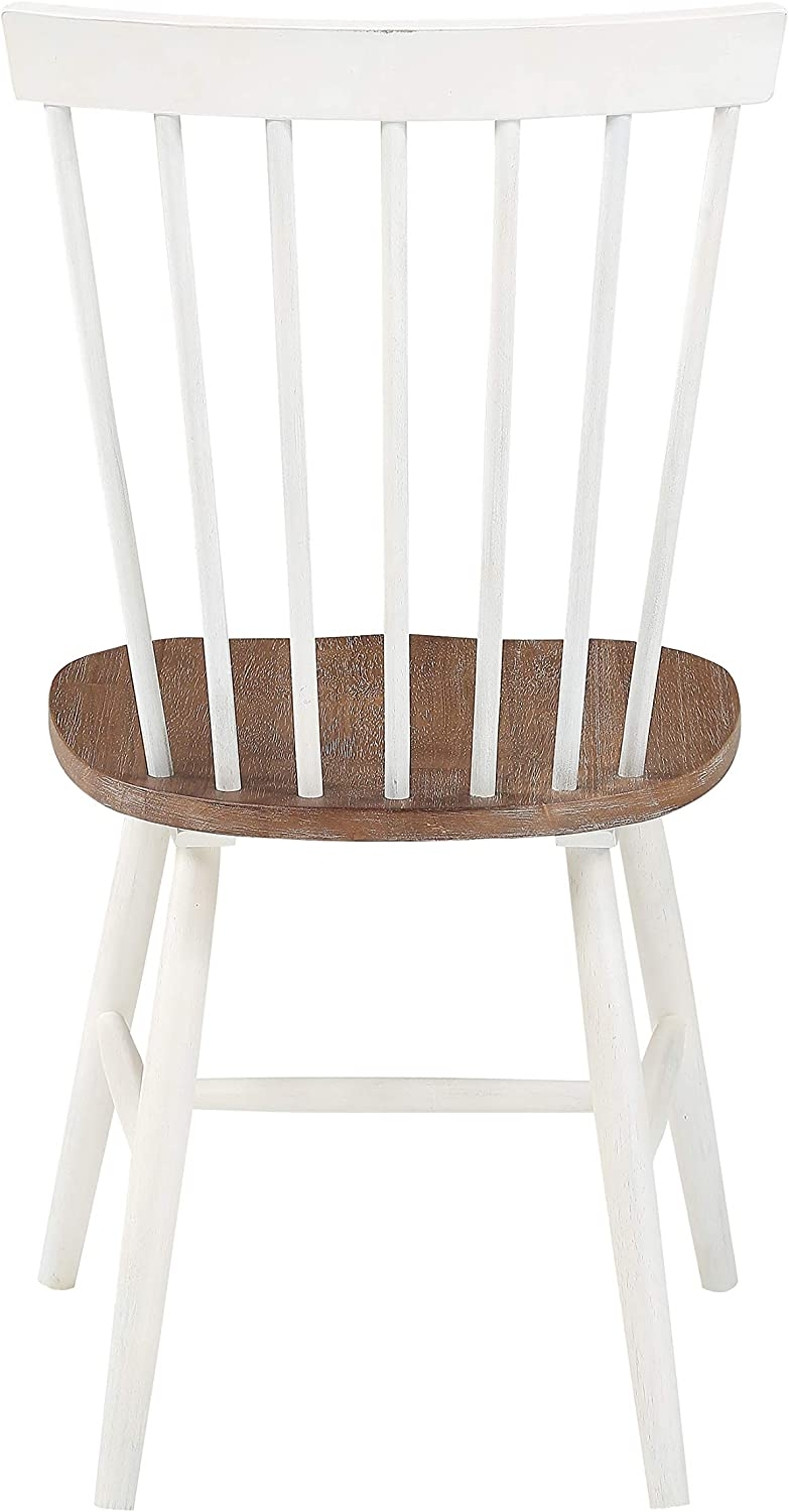 OSP Home Furnishings Eagle Ridge Farmhouse Style Solid Wood Dining, Pack of 2 Chairs, Toffee Finished with Cream Base