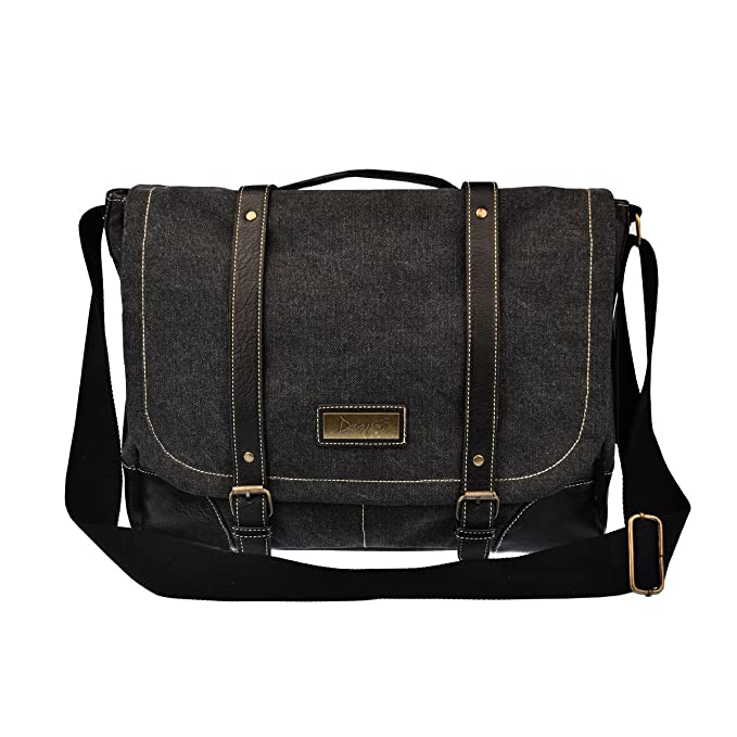 0c753eb4467 DGY Canvas Large Shoulder Laptop Bag Vintage Messenger Bag Crossbody Bag  for Men G00261 Black