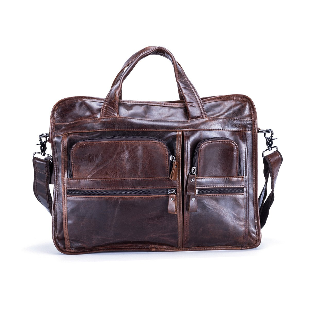 leather bags for men Retro Leather Briefcase Laptop Messenger Bag Marwar