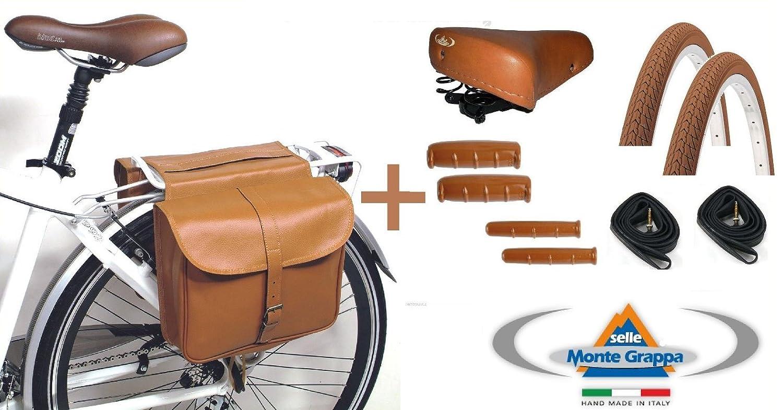neum/áticos borsello Bolsa Eco Piel sill/ín Montegrappa Pu/ños cuartos de aire 700/x 35/para bicicleta bicicleta City Bike/ /Vintage/ /Frenos a batuta/ /Hombre//Mujer