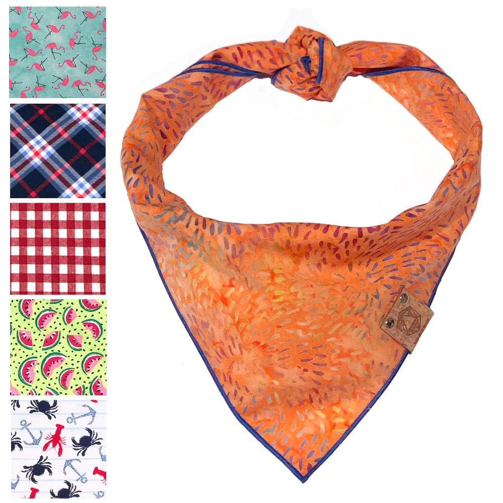 Bark.Bark.Goose. XL Orange Dog Bandana for Summer with Blue and Purple Swirls by Bark.Bark.Goose.