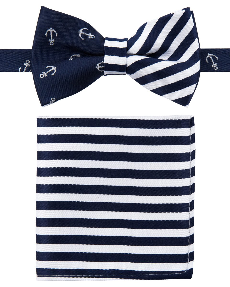 Canacana Classic Anchor Woven Microfiber Pre-tied Boy's Bow Tie with Stripes Pocket Square Gift Box Set - Navy Blue and White - 4 - 7 years, Christmas gift
