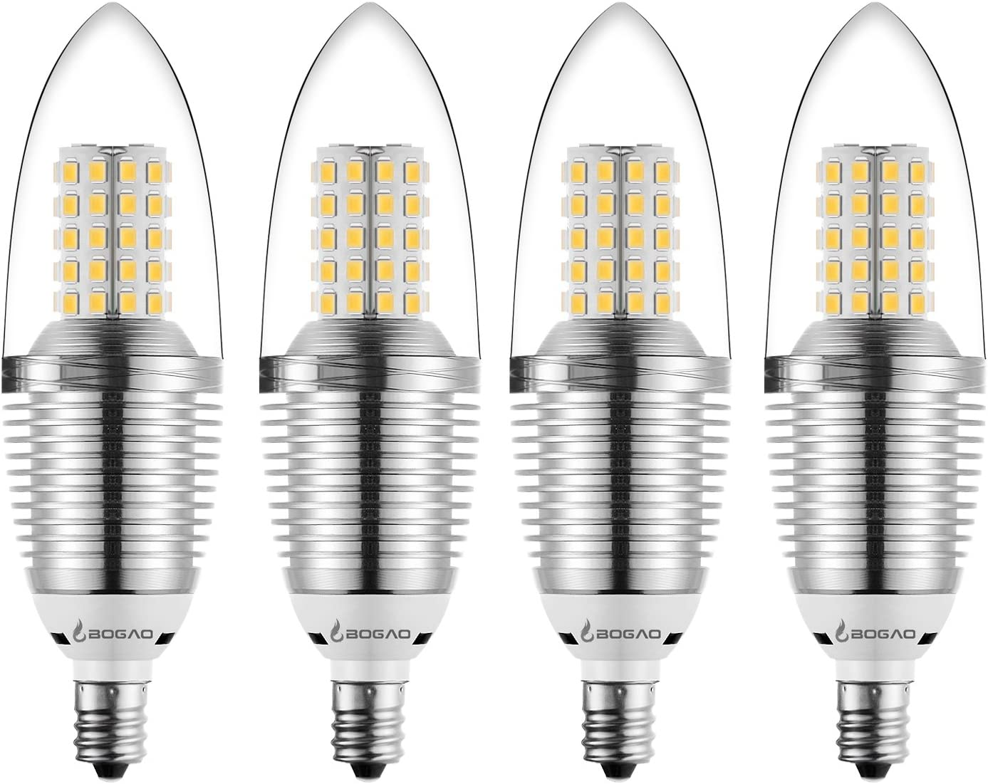 White,Torpedo Shape,Non-dimmable E12 LED Light Bulb,EKSAVE 12W E12 LED Candelabra Bulb Equivalent to 80-100 Watt Light Bulbs,1200 Lumens LED Candle Bulbs 6000K,4pcs
