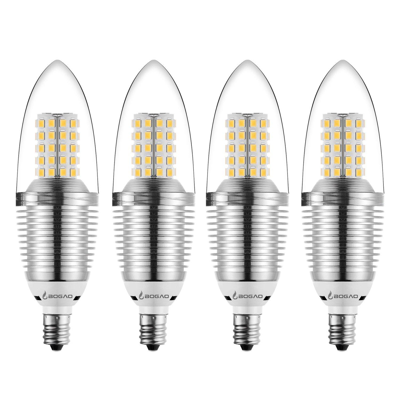 Bogao 4 Pack Led Candelabra Bulb 12w Warm White 3000k Led Candle
