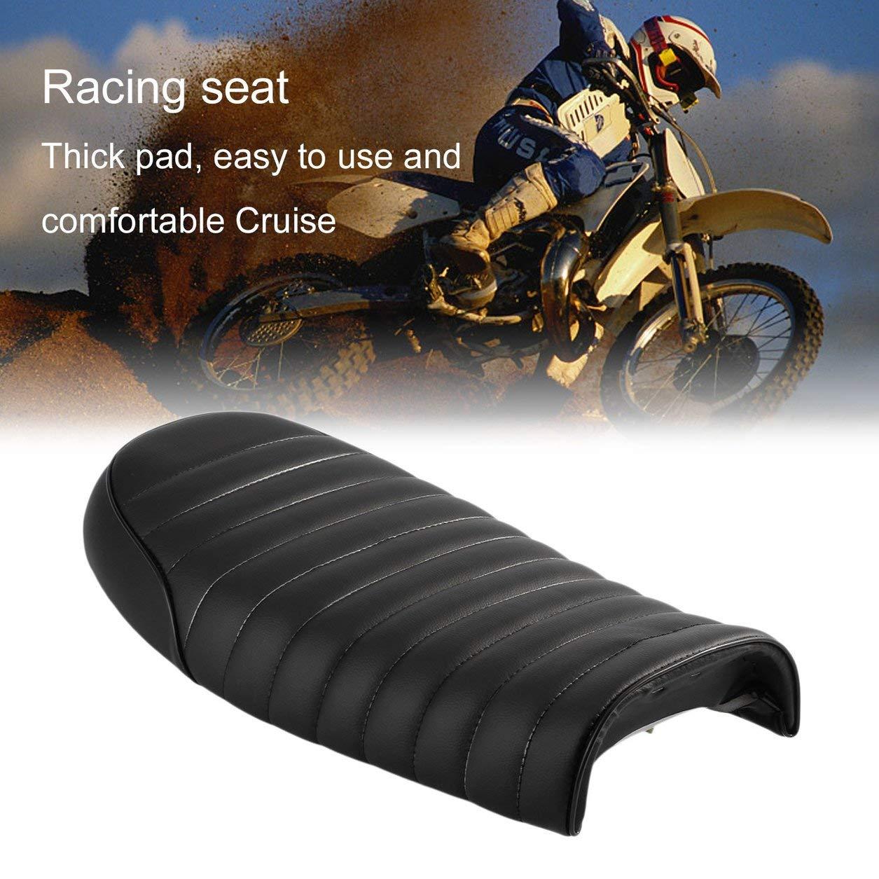 Asiento Universal Racer para café hecho de cuero acolchado impermeable con esponja universal para Honda Serie CG Motocicletta, negro Dailyinshop