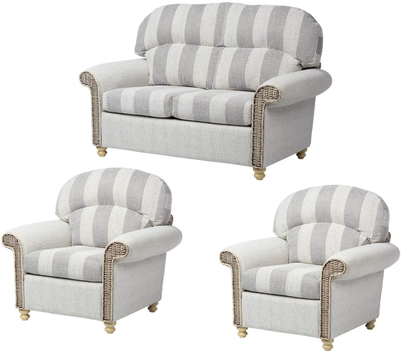Desser Stamford Conservatory Furniture Set 2 Seater Sofa 2x Armchairs Indoor Real Cane Wicker Chair Settee Suite With Uk Made Cushions Premium Athena Stripe Fabric Fully Assembled Buy