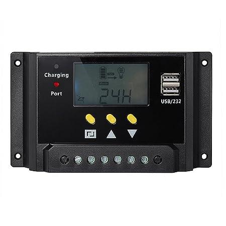 Gosear Batería 12V/24V 20A USB PWM Cargador Solar regulador regulador de Carga