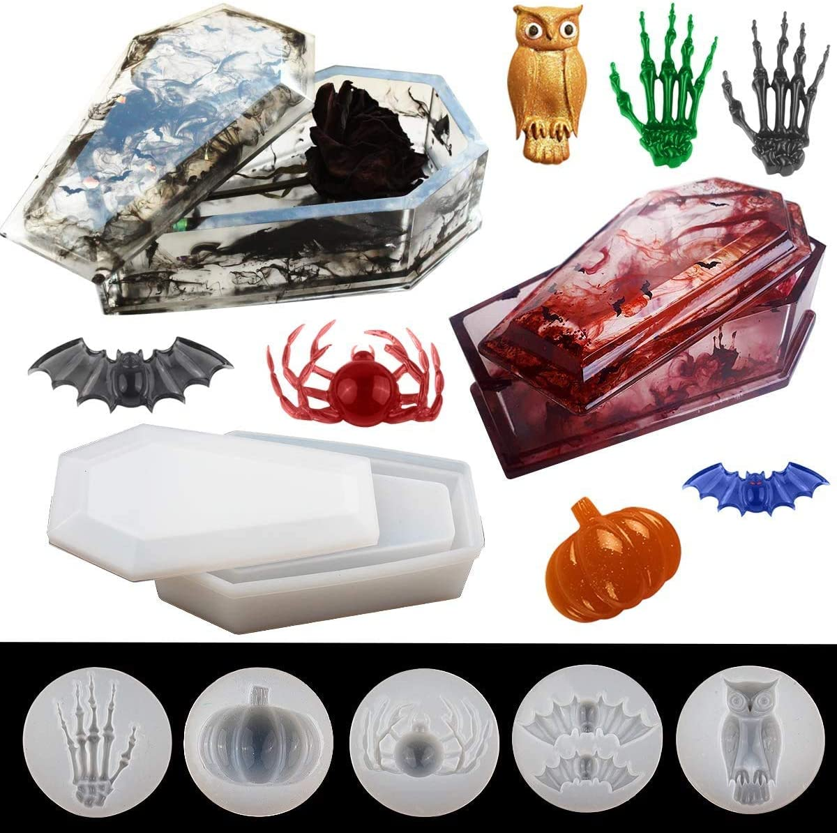 DIY Roll Tray Mold Spider Bat Jewelry Mold for Resin Casting Skeleton Hand Pumpkin 5-Piece Silicone Resin Mold Resin Coffin Mold