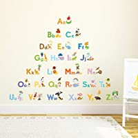 DECOWALL DAT-1708 My First Alphabet ABC with Pictures Kids Wall Stickers Wall Decals Peel and Stick Removable Wall…