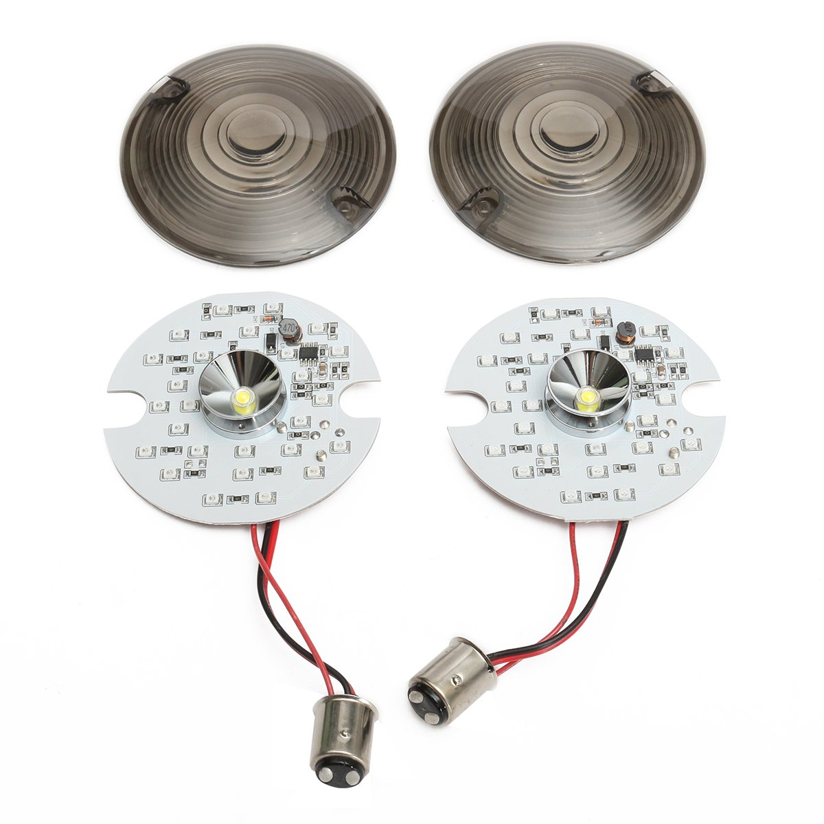 Clear CoCocina Pair 1157 LED Turn Signal Daytime Running Light Touring White Yellow For Harley