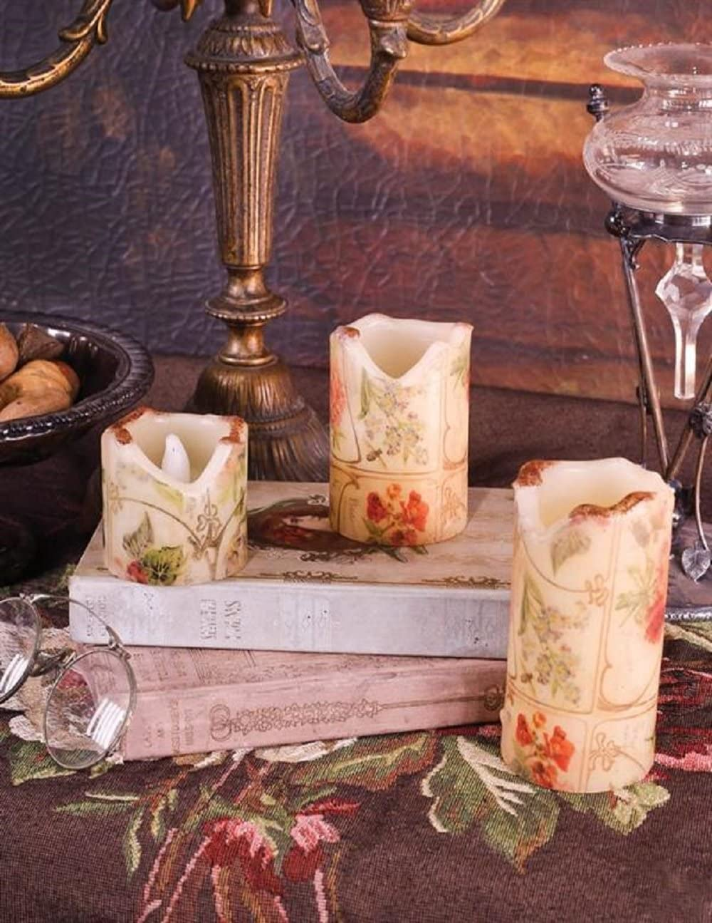 Victorian Trading Co Elizabethan Rose Flicker Candles Flameless Set of 3