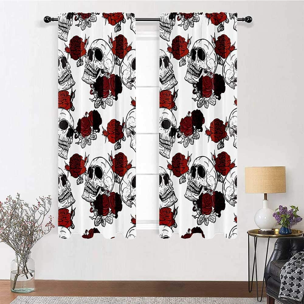 Interestlee Farmhouse Curtains for Living Room Skull Decorations Cute Drapes Retro Gothic Dead Skeleton Figures with Rose Halloween Spooky Trippy Romantic 2 Panels 84