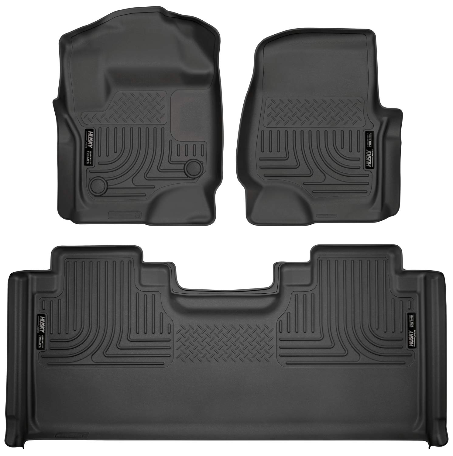 Husky Liners 94071 Black Combo Set Weatherbeater Front & 2nd Seat Floor Liners by Husky Liners