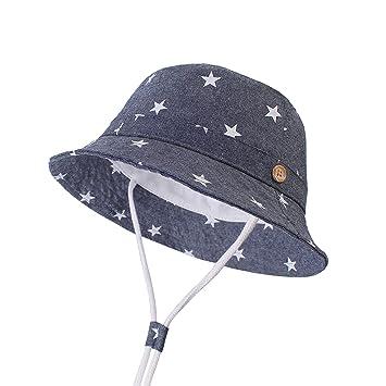 554f24e11f3de LeafIn ベビー 帽子 キッズ ハット 星柄 ひも付き 日よけ 紫外線対策 UVcut帽子