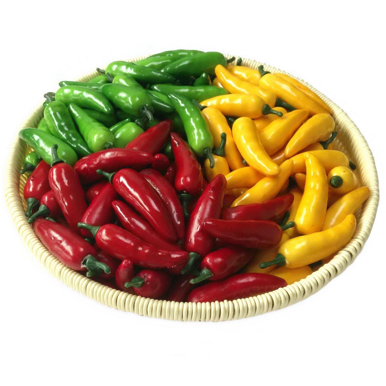 Lihou 60pcs artificielle réaliste Simulation Petit Piment Paprika Faux Légumes (Jaune Rouge Vert) chaque couleur 20pcs