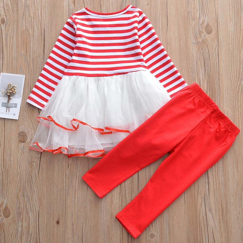 OUTGLE Little Girl Christmas Dress Toddler Girl Long Sleeve Tutu Dress Red Trousers Xmas Outfits Set
