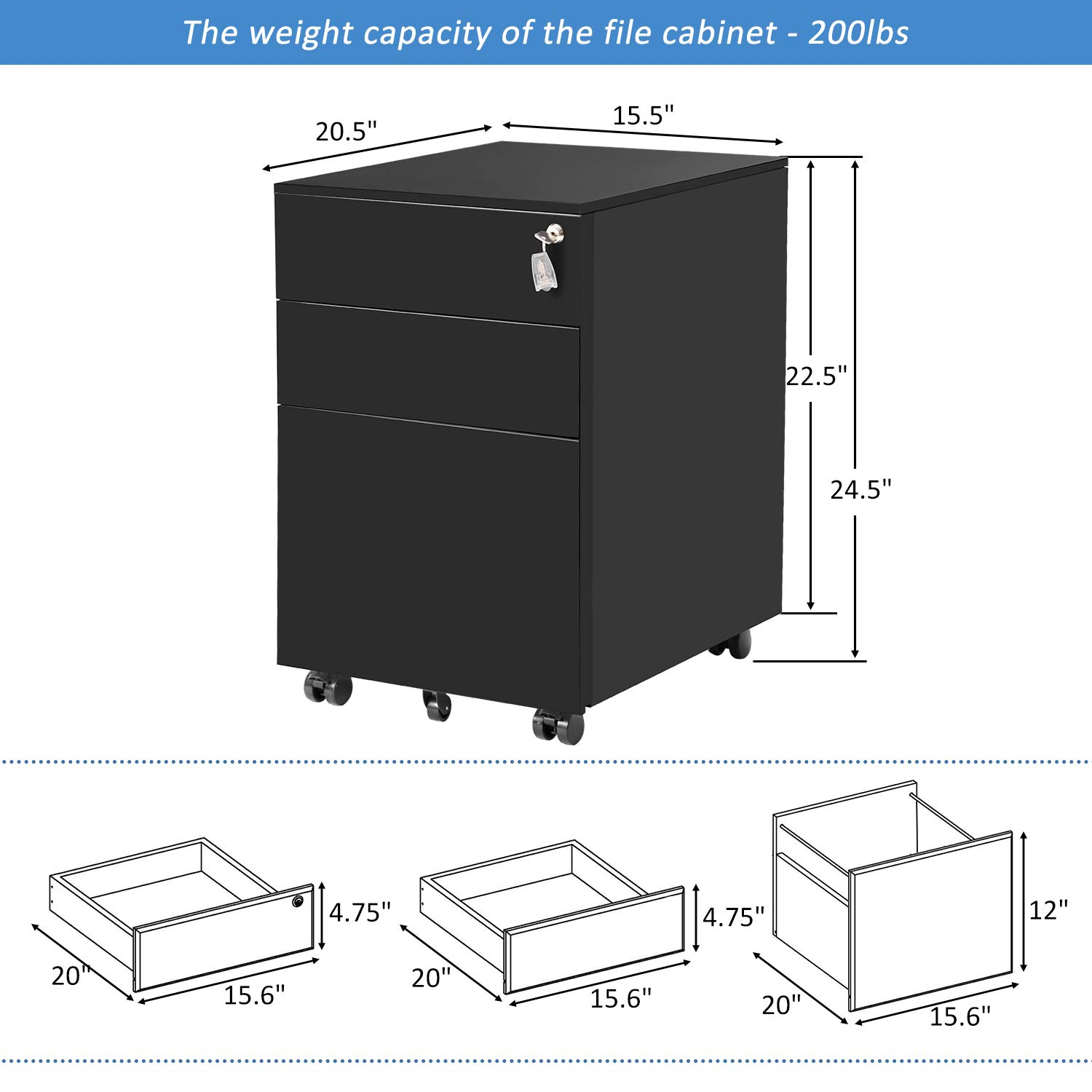 ModernLuxe File Cabinet 3 Drawer Metal Mobile File Cabinet with Lock Fully-Assembled Except Casters (Black) by ModernLuxe (Image #2)