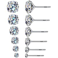 6 Pairs of Round Cubic Zircon Stud Earrings 925 Sterling Silver Nails 3mm 4mm 5mm 6mm 7mm 8mm Elegant Earrings