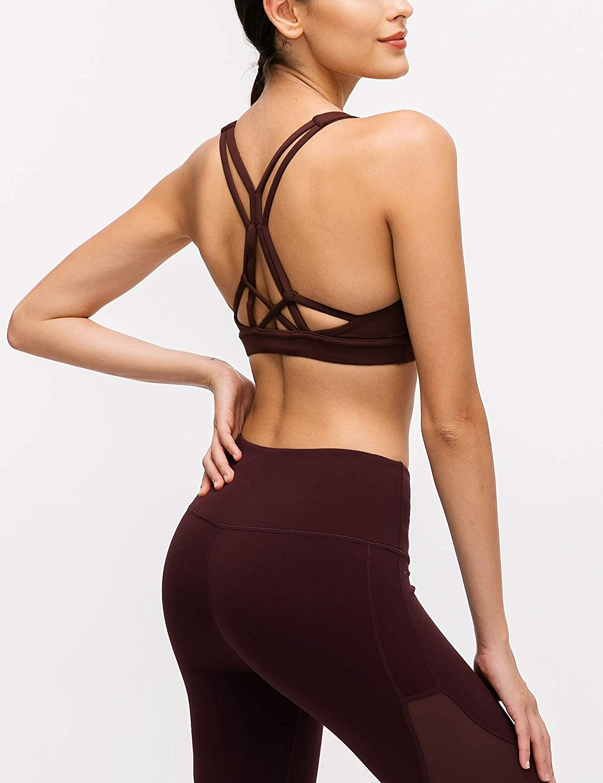 Fitness Bra EVELIFE Sujetador Deportivo Mujer Sujetador Deportivo con Relleno Sujetadores Yoga sin Costuras Sujetador con Tirantes Cruzados