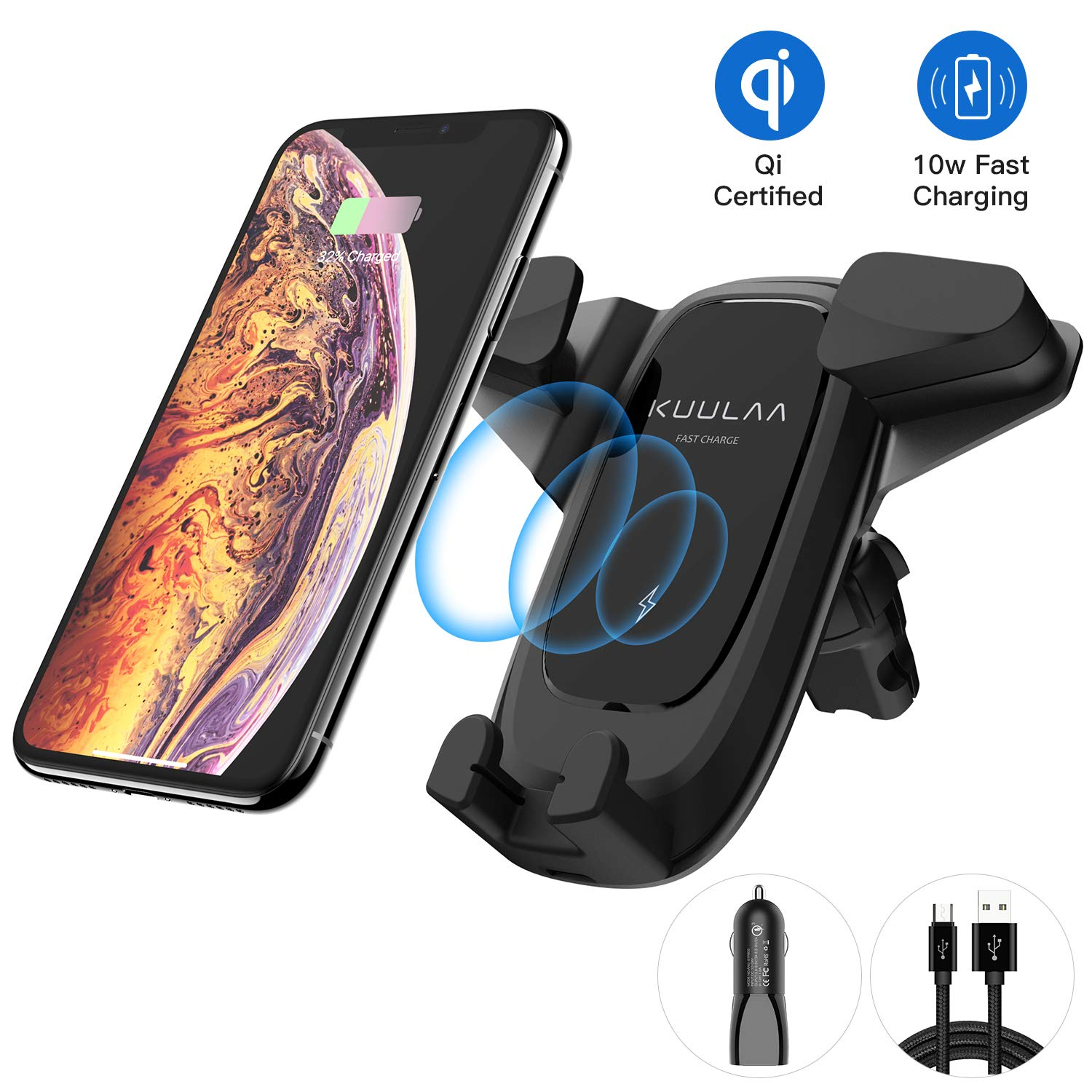 Wireless Car Charger, Kuulaa Qi Certified Wireless Charging Air Vent Car Mount with USB Car Charger, 10W 7.5W Fast Charger Cell Phone Holder for iPhone 8 XS MAX Samsung S10+ S9 Plus S8 Note 8 and More