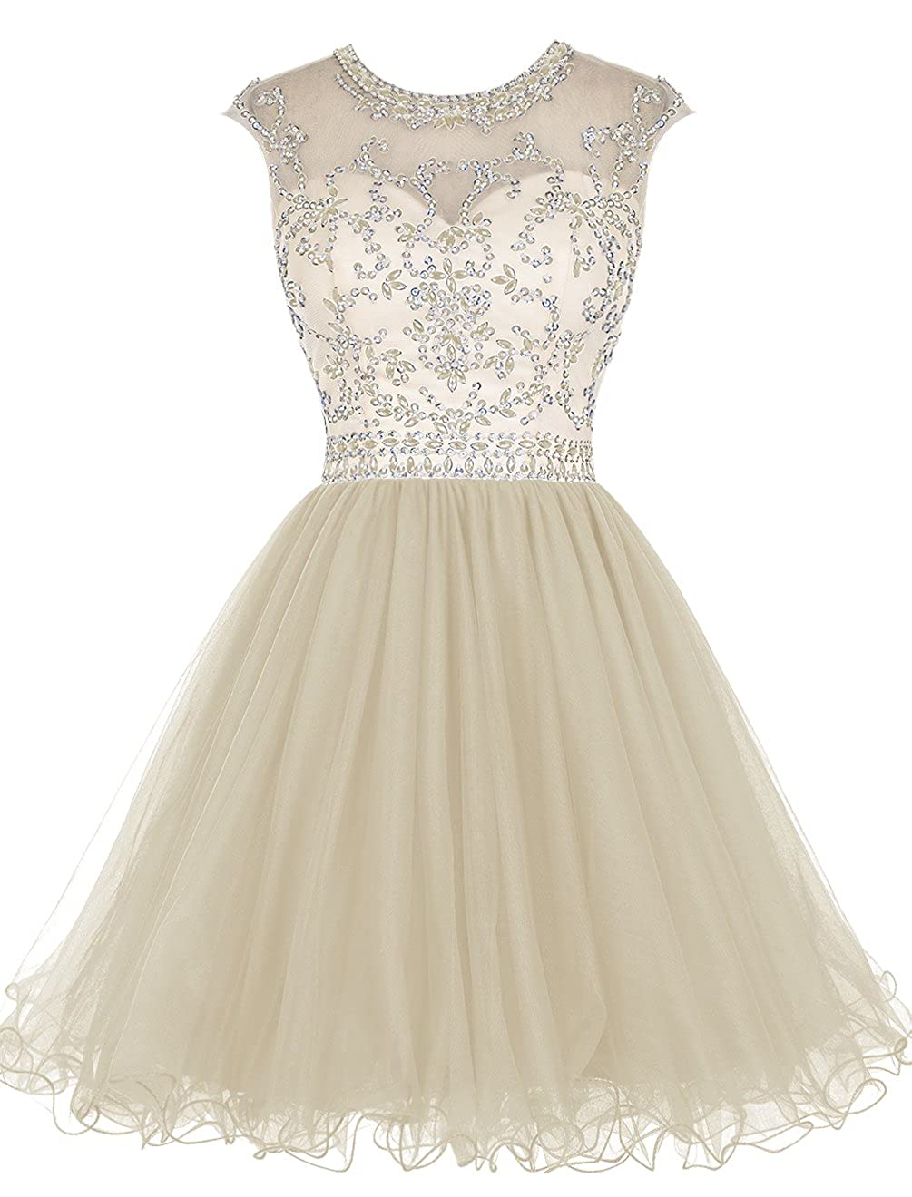 Champagne TideClothes Short Beading Homecoming Dresses Tulle Prom Cocktail Party Gowns