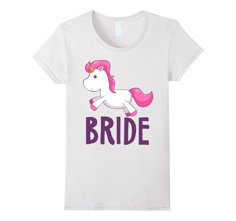 Womens Bride Unicorn Wedding T Shirt-Tovacu