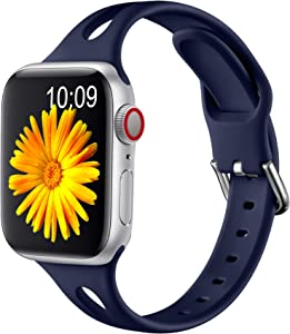 Getino Slim Band Compatible for Apple Watch 40mm 38mm for Women Men, Soft Silicone Stylish Breathable Sport Bands for iWatch SE & Series 6 5 4 3 2 1, Midnight Blue