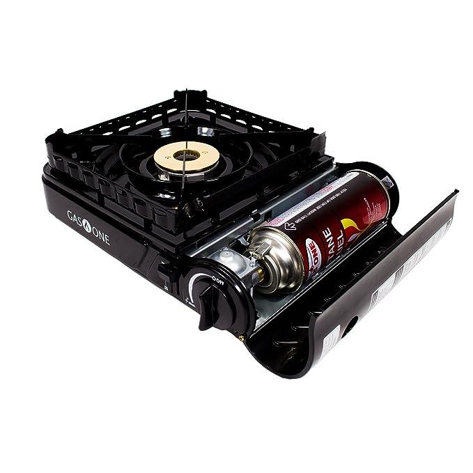 Gas ONE GS-3900P estufa portátil de propano o butano con cabezal de quemador de latón, doble llama en espiral 15.000 BTU estufa de gas con práctica funda de ...