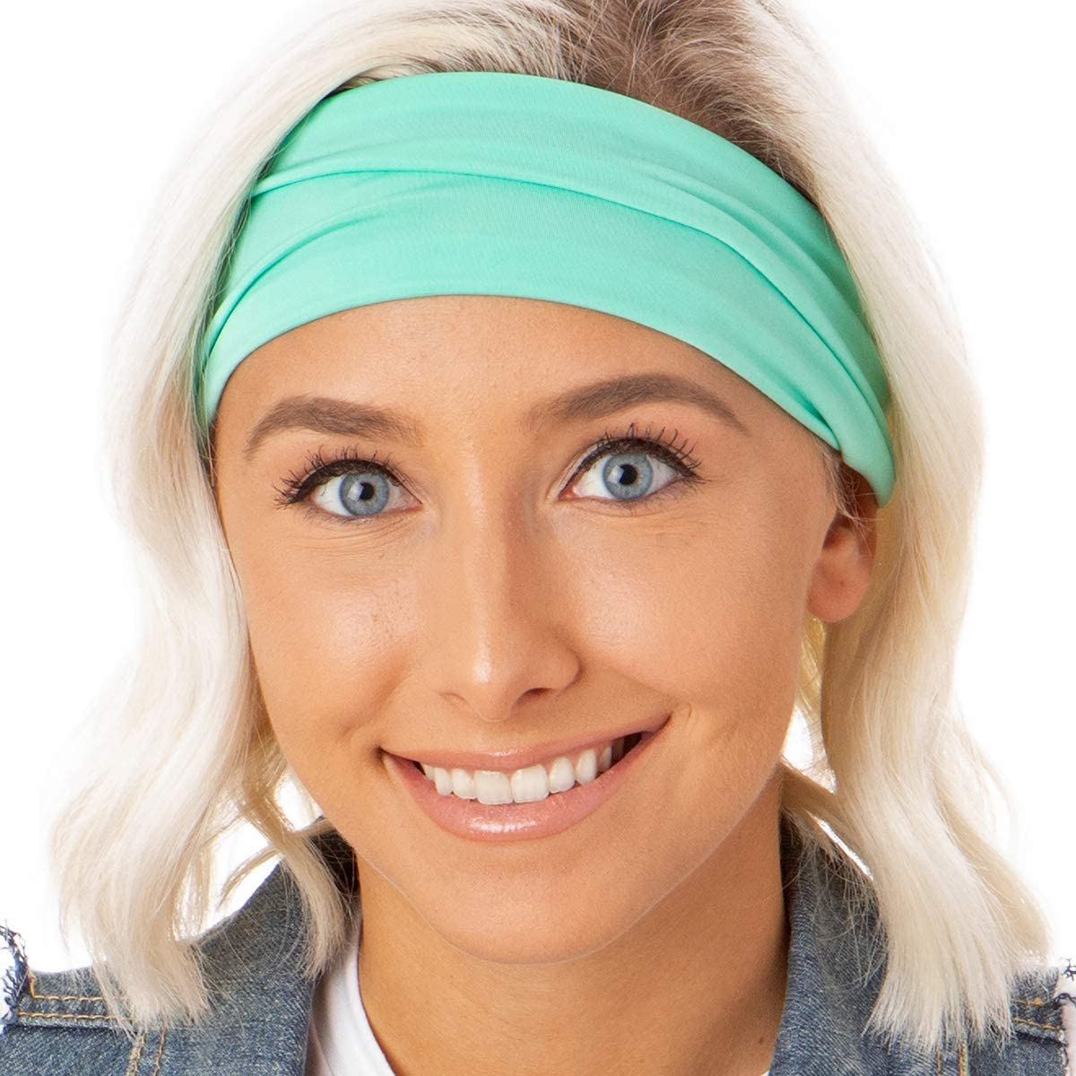 Hipsy Adjustable /& Stretchy Xflex Band Wide Sports Headbands for Women Girls /& Teens