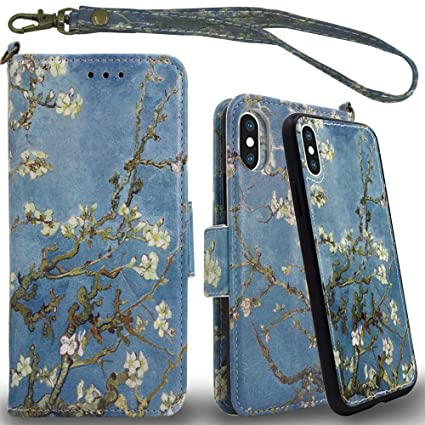 Amazon.com: Mefon iPhone Xs Max Funda de piel tipo cartera ...