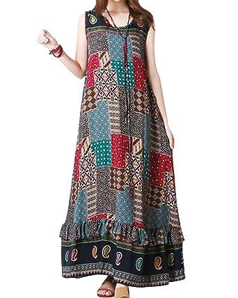 f4090bdab0 Jacansi Women Elegant Floral Sleeveless Casual Ball Gown Shirt Dress Plus  Size UK 14 Khaki  Amazon.co.uk  Clothing