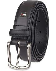 Tommy Hilfiger Men's Leather Stitch Belt with Engraved Logo Belt