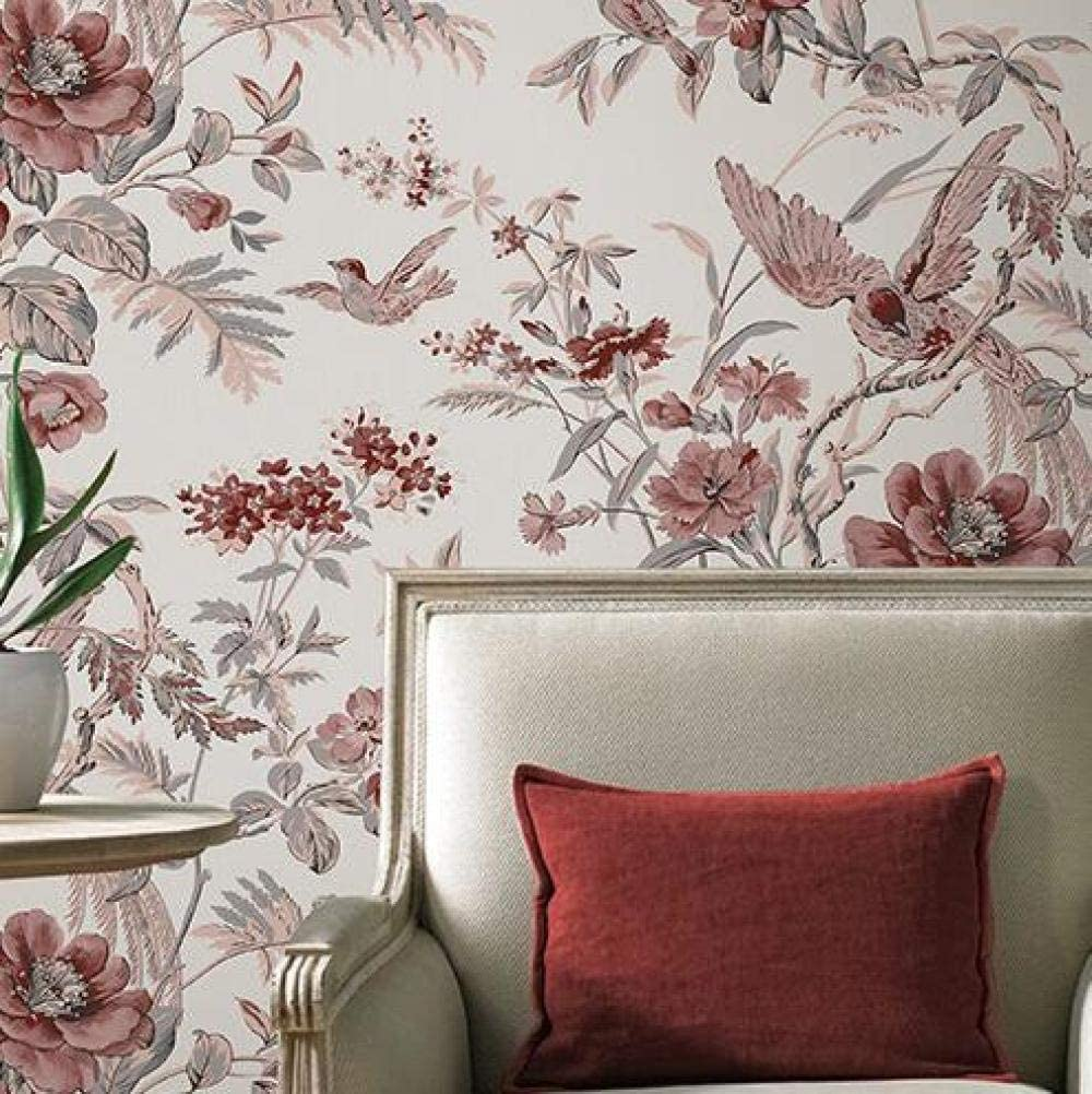Red Vintage Birds And Flowers Wallpaper Chinese Floral Wallpaper