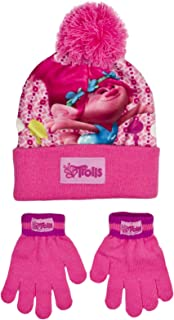 Trolls Poppy Children Hat and Gloves Set Snuggly Warm Pom Pom Winter Kids  Girls Pink Hat 4-8… dfe1306d8baf