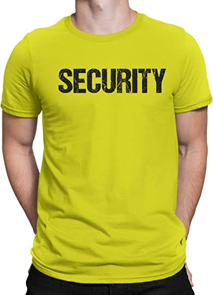 3ca84cb2eb14c3 Amazon.com: NYC FACTORY Bright Yellow Security T-Shirt Front & Back ...
