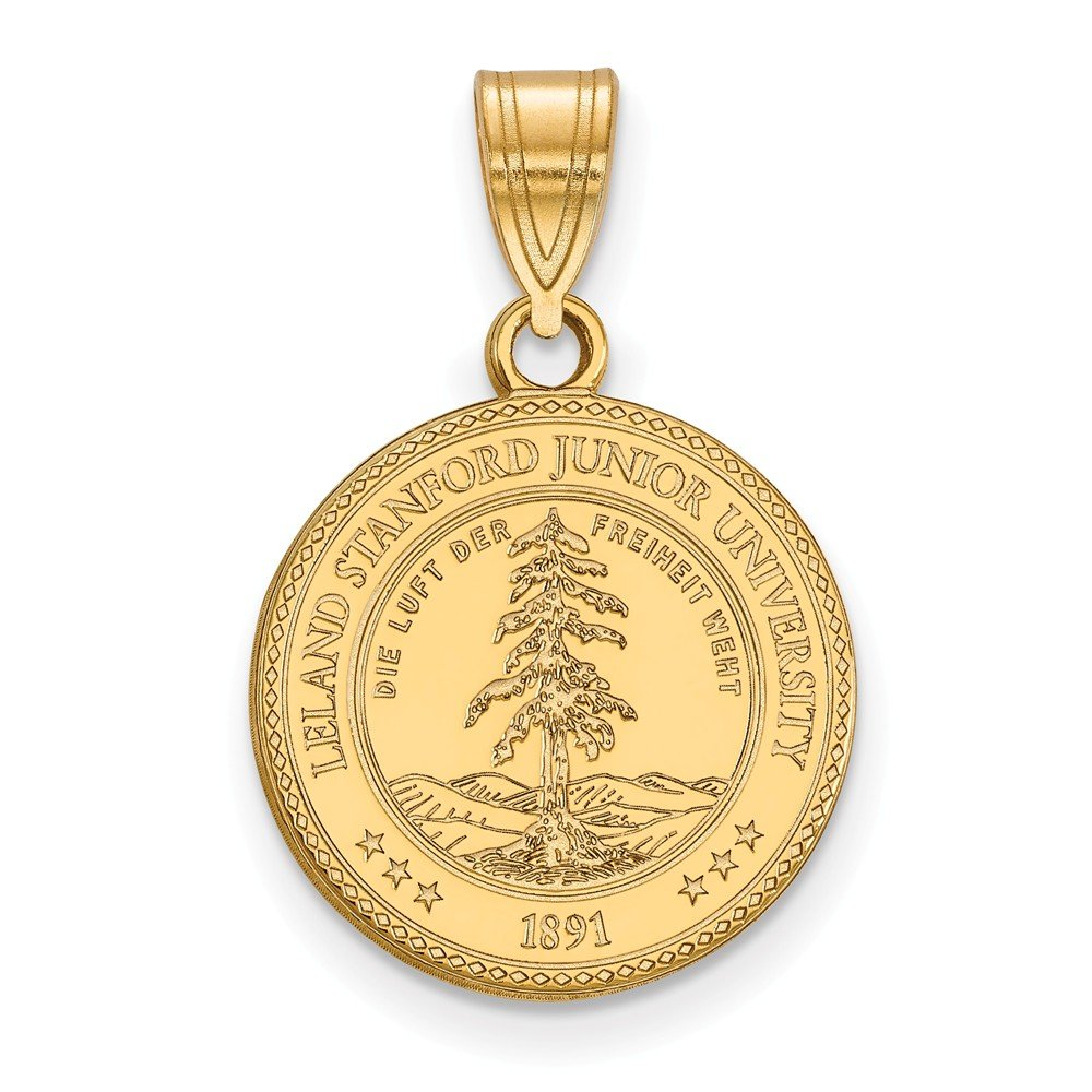 Jewel Tie 925 Sterling Silver with Gold-Toned Stanford University Medium Crest Pendant