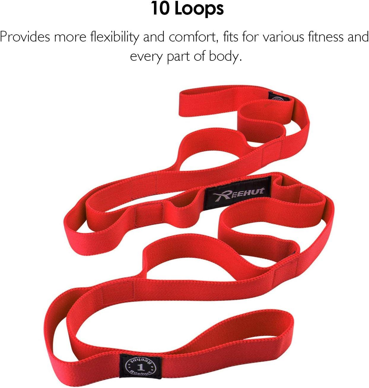 Fitness con Libro de Instrucciones y Bolsa de Alamacenamiento Yoga Strap para Yoga con 10 Ojales Amplios REEHUT Correa Yoga /& Stretch Strap 279cm x 3cm Terapia F/ísica