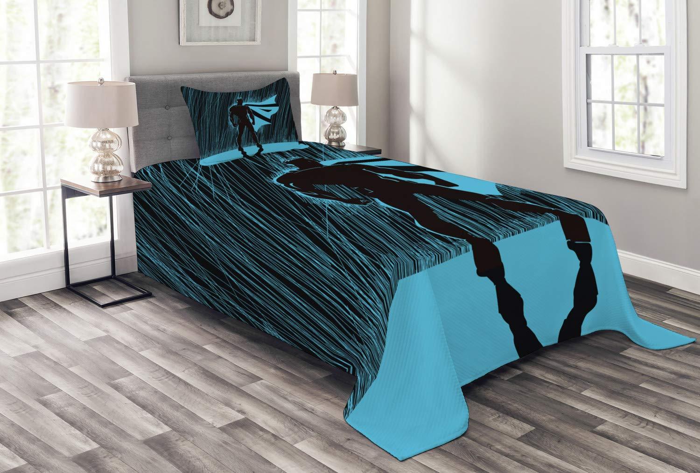 Lunarable スーパーヒーロー ベッドスプレッド 夜のヒーロー 劇的なスーパーディフェンダー Macho プライド ネオン 男性 イラスト 装飾キルト カバーレットセット 枕カバー付き ブルー ブラック ツイン bed_38709_twin B07HL2F7ZN マルチ1 ツイン