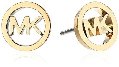 5f84acf73c2a2 Amazon.com  Michael Kors Logo Haute Hardware MK Logo Gold-Tone Stud ...