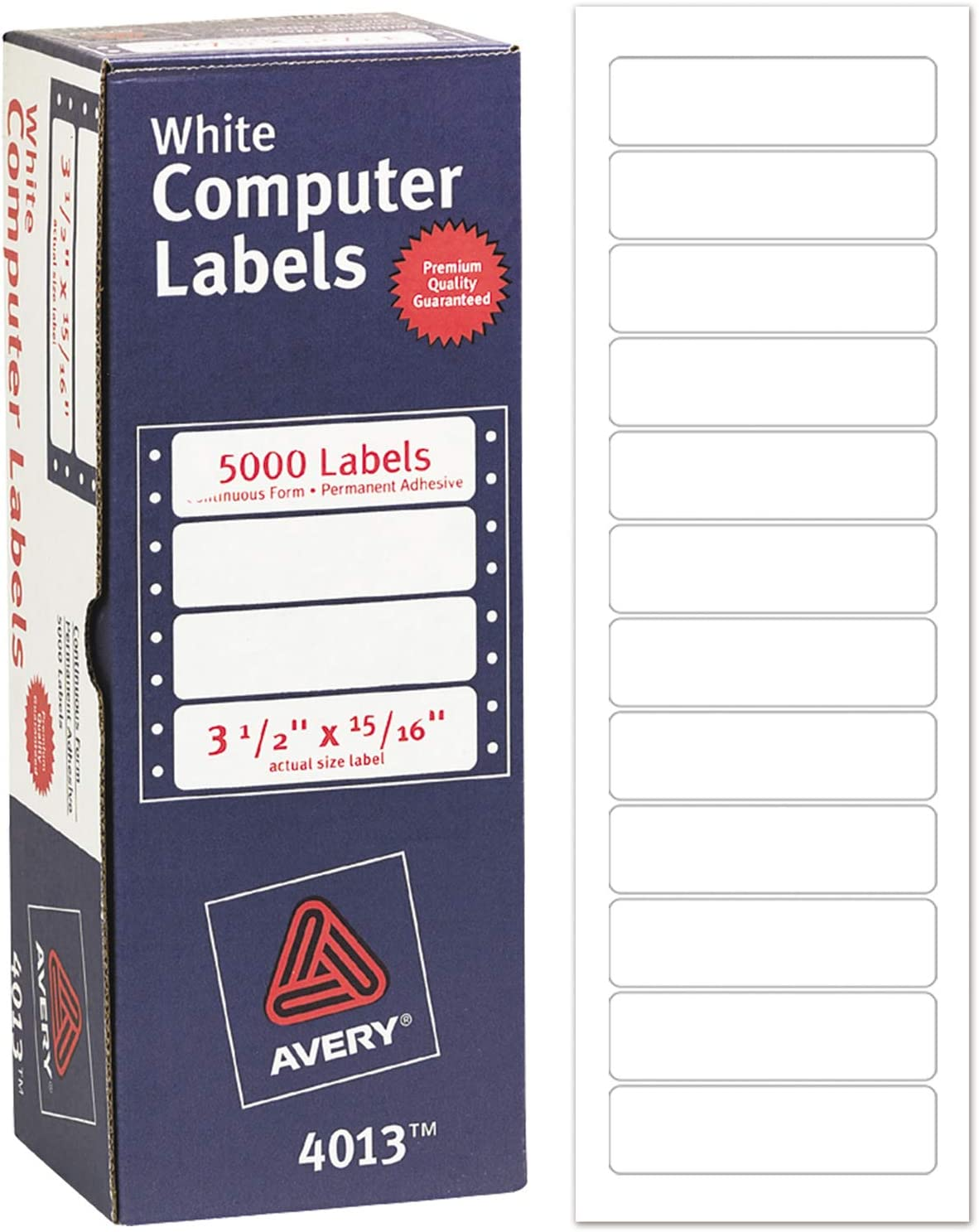 "Avery Dot Matrix Printer Address Labels, 15/16"" x 3 1/2"", 5, 000 White Labels (4013) : Address Labels : Office Products"