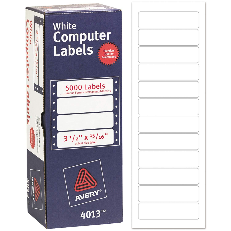 Avery 4013 Dot Matrix Mailing Labels, 1 Across, 15/16 x 3 1/2, White (Box of 5000)