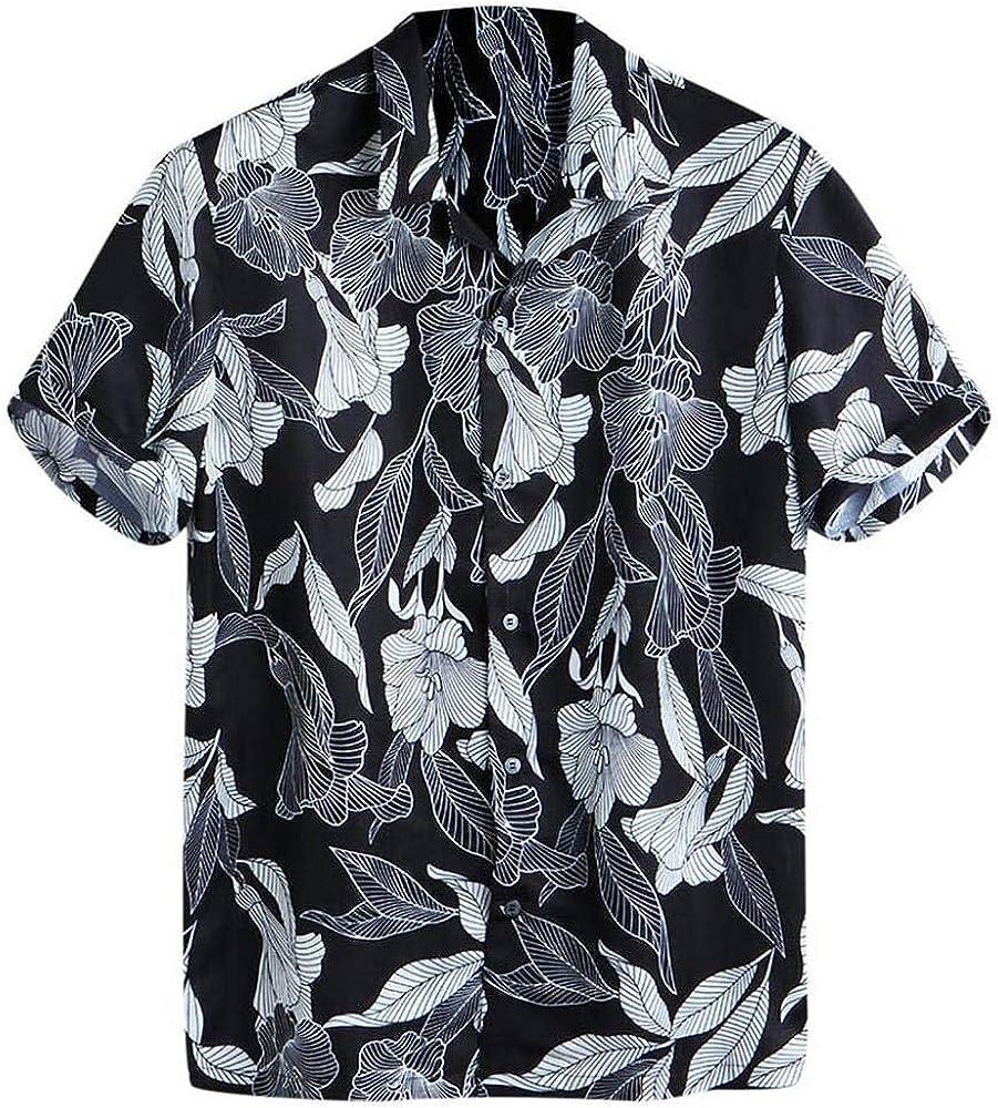 VJGOAL Camisa Hawaiana con Estampado de Flores Retro de Verano Tops de Manga Corta Casual Playeras de Solapa Suelta Botones Blusa Camiseta: Amazon.es: Ropa y accesorios