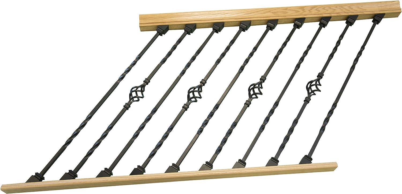 DIY - Riel de escalera ajustable para interiores con balaustres de metal negro (doble torsión, cesta individual): Amazon.es: Bricolaje y herramientas