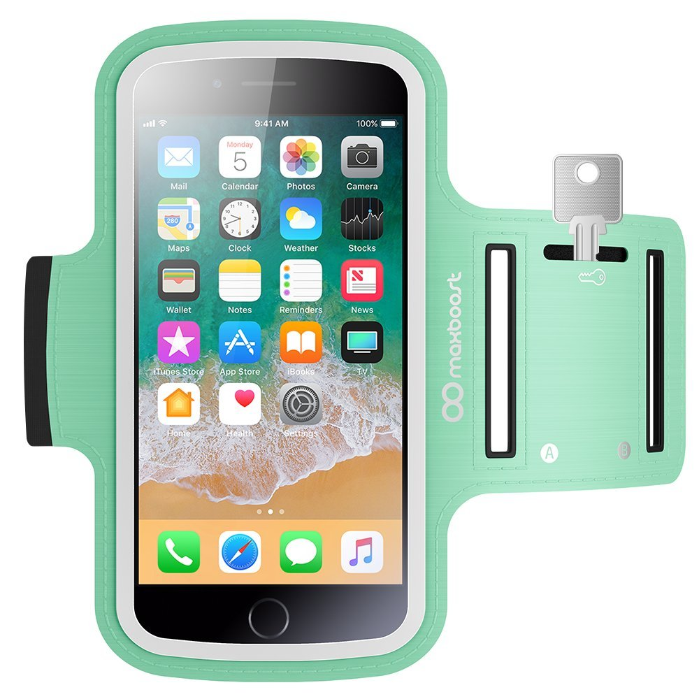 Maxboost Armband [Original+] For Large Phone iPhone 8 Plus, 7 6 6S Plus, X, Galaxy S9 S8 Plus, Note 8 5 2 (Fits Otterbox Defender Lifeproof case) [Water Resistant] Universal Running Pouch Key Holder